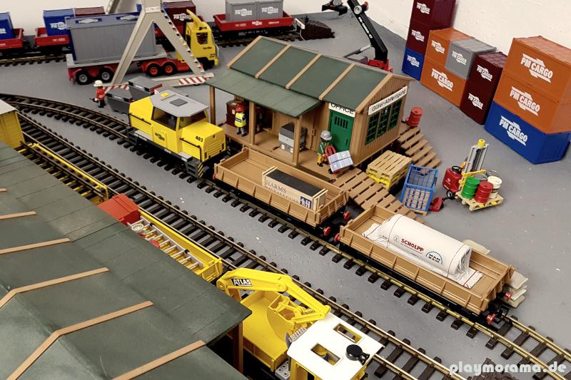 Viele Gestaltungsmöglichkeiten rund um die Playmobil Eisenbahn. So kann die Eisenbahn gleich umfassend in Spielszenen integriert werden.
