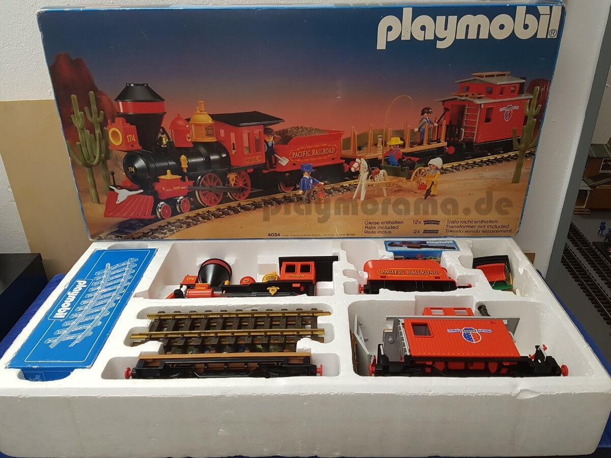 Playmobil Western Eisenbahn Set 4034 mit der Westernlok Steaming Mary komplett mit Karton