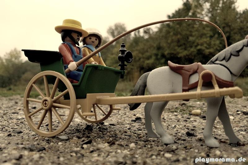Western Lady wird mit Einspänner zur Westernbahn gefahren