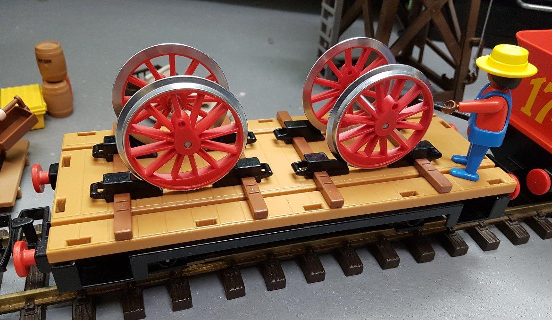 Playmobil Flachwagen 4104 mit Ersatzräder für Westernlok