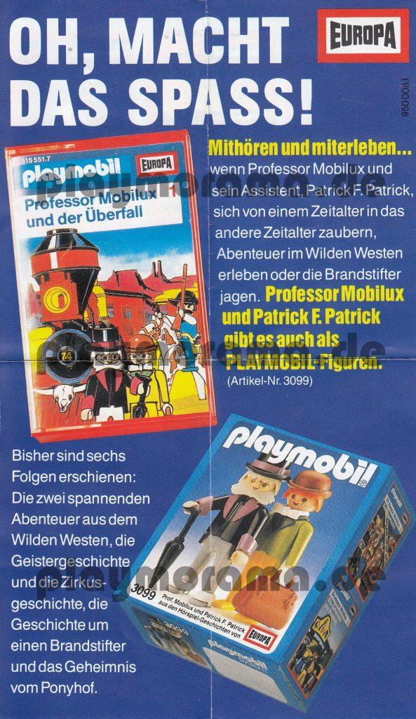Professor Mobilux Flyer zum Höhrspiel zund zu den Playmobil Figuren