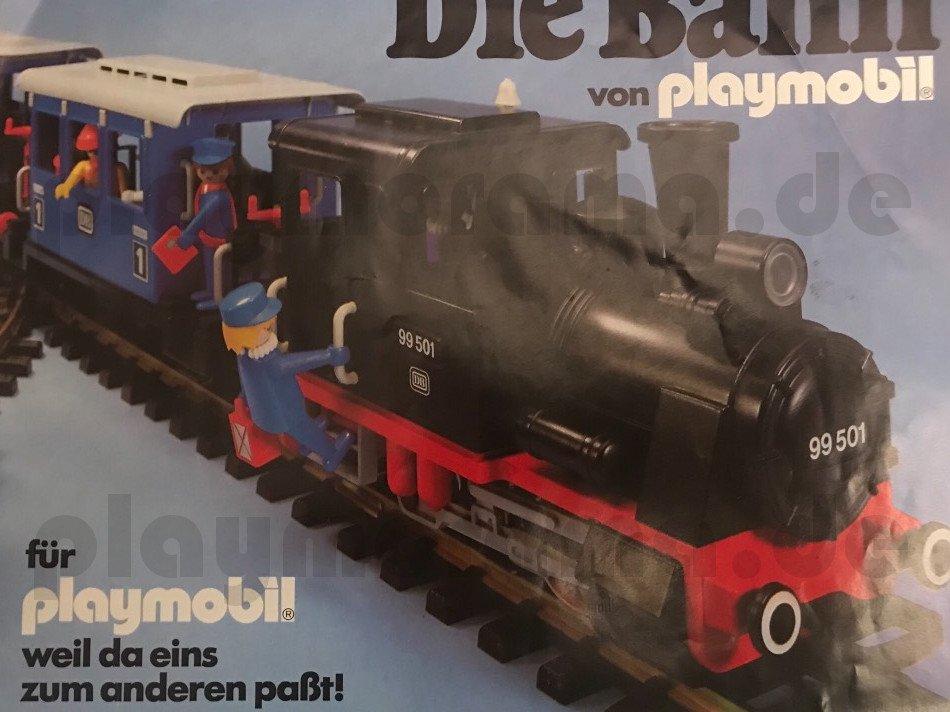 Die Bahn von playmobil für playmobil- weil da eins zum anderen passt. Deckblatt vom Playmobil-Eisenbahn Prospekt 1980