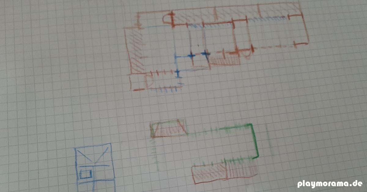 Erster Entwurf. Bundstift-Zeichnung meiner Custom Güterabfertigung