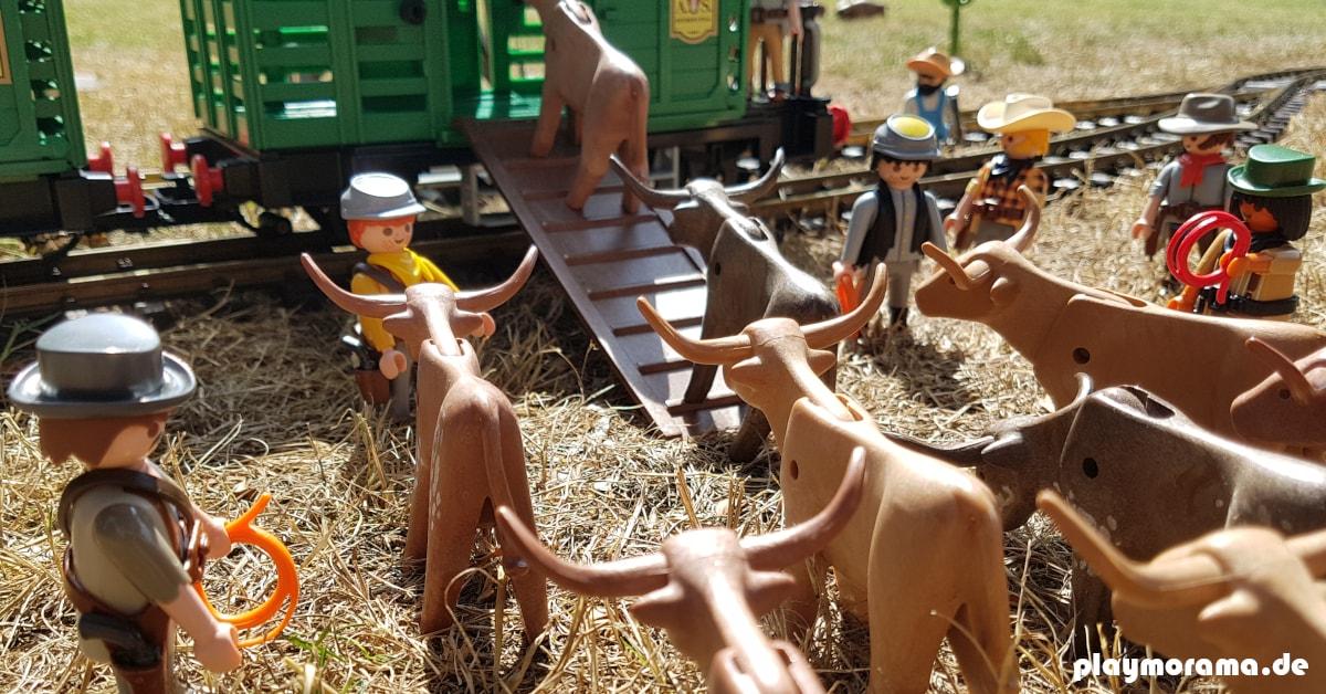 Mehrere Millionen Tiere werden später mit der Eisenbahn in Western-Viehwagen 4121-A transportiert.
