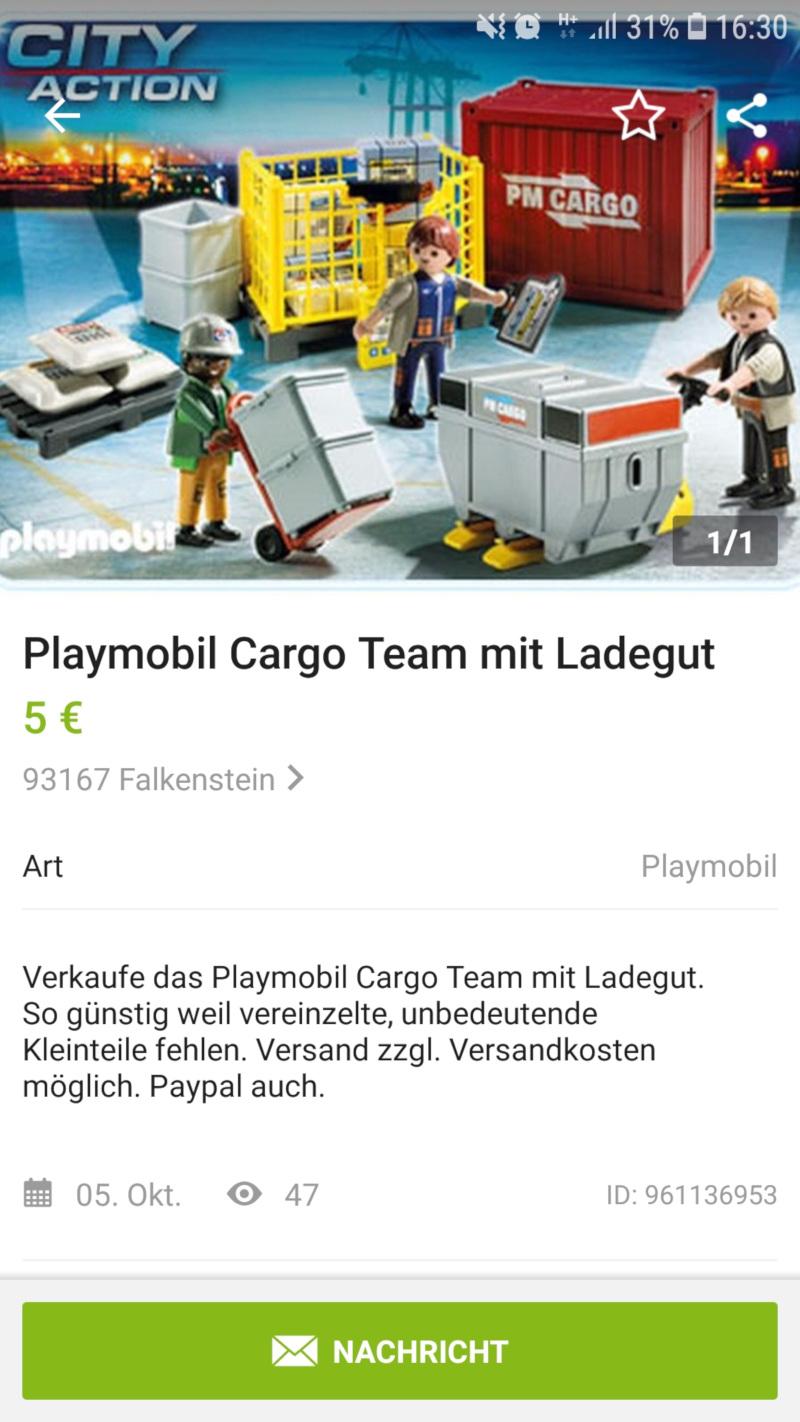 Playmobil Cargo Team mit Ladegut - Angebot bei eBay kleinanzeigen