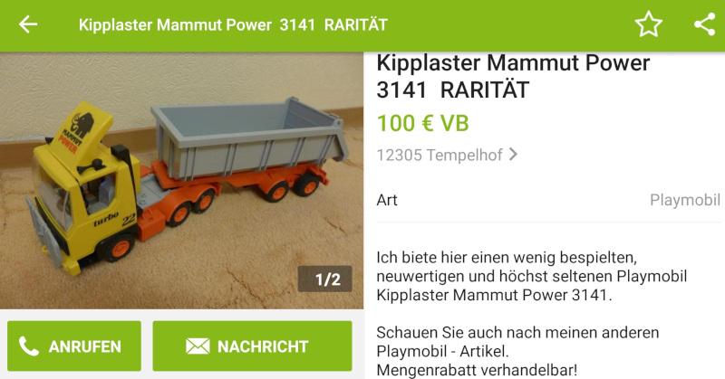 """""""Seltener"""" Playmobil Kipplaster 3141"""