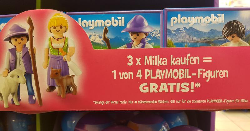 3x Milka kaufen = 1 von 4 Playmobil-Figuren Gratis dazu bekommen