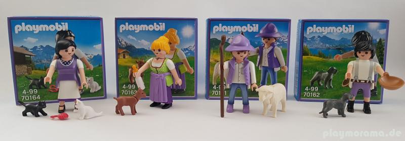 Alle vier Playmobil Milka Sonderfiguren kommen farblich dezent in den Farben des Schokoladen-Herstellers daher