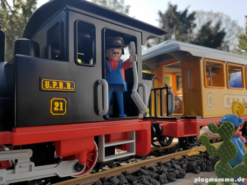 Playmobil Lokomotive der Union Pacific Railroad mit der Beschriftung U.P.R.R.