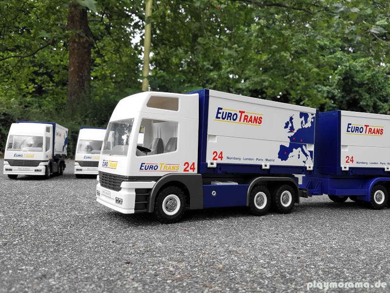Selbst gestaltete LKW Flotte Eurotrans24 der Playmobil Spedition