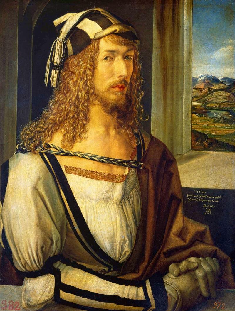 Albrecht Dürer - Selbstbildnis mit Landschaft im Patrizier-Gewand