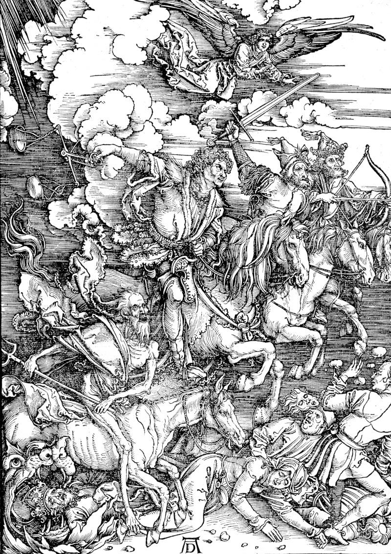 """Der von Albrecht Dürer 1497/98 gefertigte Holzschnitt """"Die vier apokalyptischen Reiter"""" war Teil einer Folge zur Apokalypse des Johannes (Neues Testament)."""
